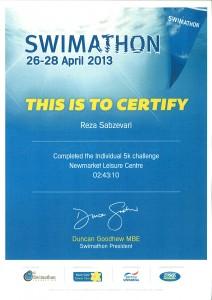 Swimathon Certificate